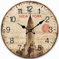 Retro Style New York City Chrysler Building Home Decorative Wall Clock Wood 34CM