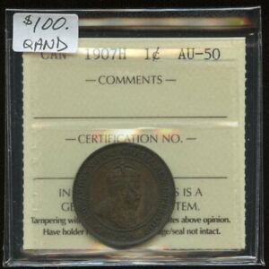 1907H Canada One Cent - ICCS AU-50-Key Date