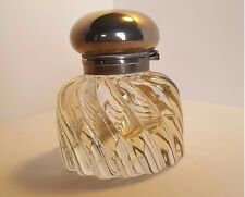 Antique Heavy Round Pressed Glass Inkwell Baccarat Swirl