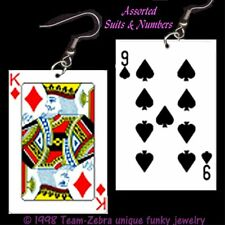 Funky Novelty Blackjack PLAYING CARDS EARRINGS Poker Game Casino Costume Jewelry