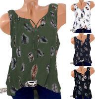 Summer Womens Loose Sleeveless Vest T Shirt Blouse Boho Tops Shirt Plus Size USA