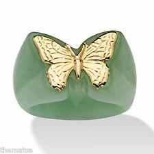 WOMENS 14K YELLOW GOLD GREEN JADE  BUTTERFLY RING SIZE 5 6 7 8 9 FREE SHIPPING