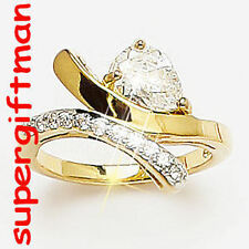 X031 - BAGUE OR DOUBLE AM. / ring goud  DIAMANTS CZ T50