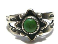 SMALL RARE STYLE BELL TRADING POST STERLING SILVER & TURQUOISE SOUTHWESTERN RING