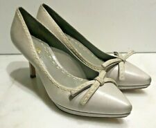 PRADA WOMENS GRAY LEATHER BOW HEELS SHOES PUMPS 38 / 8  NEW