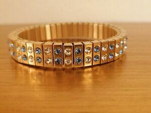 24k GOLD Bracelet Blue TOPAZ Wedding Party Jewelry Stretch SWAROVSKI HANDMDE 2ct