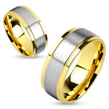 Two Tone Soft Brushed Metal Center Step Edge Gold Ip Stainless Steel Ring