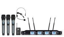 Pro UHF 4 Channels Wireless Microphone mic System w/ 3 Handheld1 Headset mic