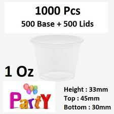 1000 Pcs, 500 Base + 500 Lids: 1Oz (30ml)  Round Sauce Take Away Containers