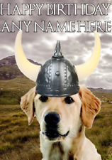 Labrador Retriever Dog hs200 Viking Warrior Personalised Birthday Greetings Card