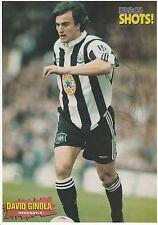 David ginola Newcastle United 1995-1997 Original Firmada A Mano Revista De Corte