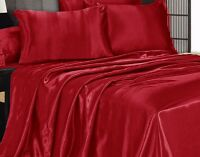 3 Piece ٌRed Satin Silky Sheet King Size Fitted Pillows 500TC New