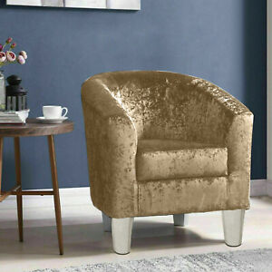 Luxury Crushed Velvet Fabric Tub Chair Armchair Cafe Home Lounge Bedroom Sofa UK