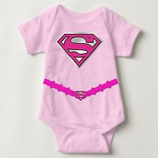 Supergirl Costume Personalized Baby One Piece with Back Name Print