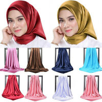 Women Square Satin-Silk Scarf Shawl Head Neck Wraps Muslim Islamic Hijab Turban