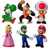 """Vogue 6 pcs Mini Super Mario Bros Yoshi Luigi Toad 2.5"""" Action Figures Toys Gift"""