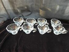 Vintage Hazel-Atlas Clear Glass narrow base Swirl 8 Piece set, used twice