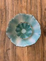 EUC Anthropologie Floral Ceramic Ring Trinket Holder Teal Green