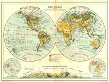 WORLD IN HEMISPHERES.Western Eastern Land Water. Snowline altitudes 1909 map