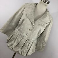 New J Jill 4P 4 Petite Jacket Silver Pale Gray Embroidered Flower Floral NWT V6P