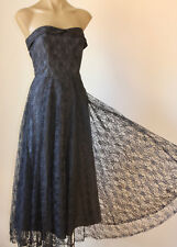 Cute! VINTAGE 80's SWINGY STRAPLESS LACE GLAM COCKTAIL PARTY DRESS 6