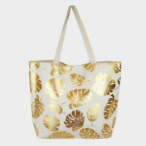 NEW Large Gold Foil Leaves Monstera Tropical Plant Purse Beach Tote Travel Bag