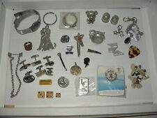 35+ Vintage Junk Drawer Lot - Watch-Cufflinks-Keyfobs-Dice-Pins-Odds & Ends