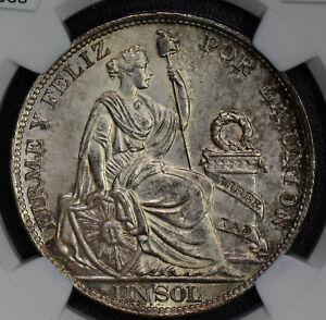 Peru 1915 FG Sol woman silver lima animal NGC MS 63 NG0330 combine