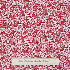 """Calico Fabric - Red & White Flower Floral - Cotton Sewing Quilting 12"""""""