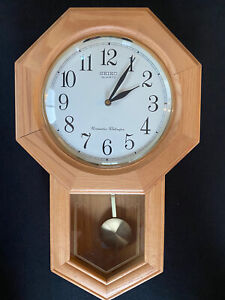 SEIKO Oak Case WESTMINSTER WHITTINGTON Pendulum Wall Clock NICE!