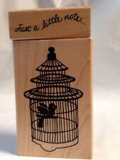 Stampendous Tiered wire Bird Cage Just a Little Note 2 Rubber Stamps Not Inked