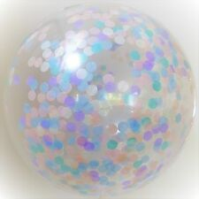 Set of 2 Confetti Balloon Giant Pastel Pink Blue Mint Peach 90cm clear latex