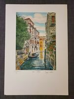 OG Bela Sziklay 1911-1981 Hand colored Etching ITALY VENICE, Pencil Signed