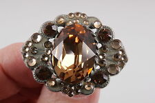 ANNE KOPLIK DESIGN LIGHT ORANGE FACETED CRYSTALS RING FASHION SIZE ADJUSTS 0174