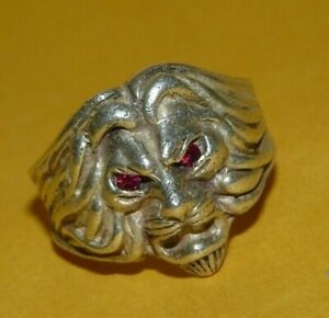 """~MEN'S~VINTAGE~925~STERLING~SILVER~""""LION'S HEAD""""~w/~RUBY~EYES~RING~SIZE~9~12.7g~"""