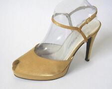 Chinese Laundry Gold Satin Peep Toe Platform Stilettos Ankle Strap Womens 9M