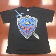 The Legend of Zelda Twilight Princess Game T Shirt Black Shield Sword Medium
