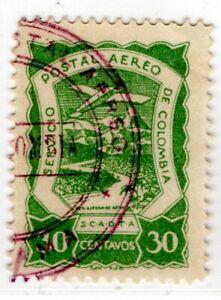 COLOMBIA - PANAMA - SCADTA - 30c STAMP - PANAMA CANCEL - Sc C29 - 1921 RRR