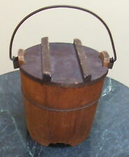 Primitive Wooden Firkin Sugar Bucket & Lid
