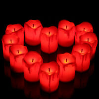 12 Flameless Red LED Candles Tea Light Battery Operated Wedding Party Xmas Decor