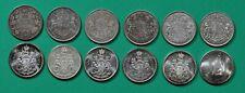 Canada, 50 cents,12 silver half-dollars,1916,1937,1940,1941,1943,1950,1962-1967