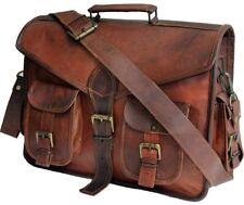 Mens Women Genuine Vintage Brown Leather New Messenger Laptop Briefcase Bag