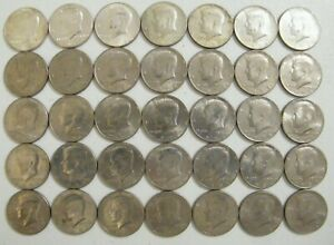 1964~1985 PD Kennedy Half Dollar Coin Collection 35 Coins with 7 Silver Coins