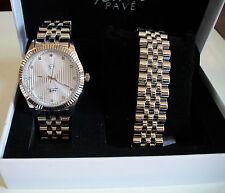 Men's Silver Finish  Techno Pave Watch/Bracelet Combo Dressy/Casual Set Box