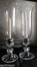 BACCARAT Paire De Bougeoirs Photophores ,Cristal, Modèle Bambou, Tors, Début XXe