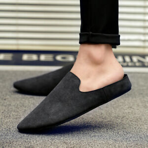 Men Casual Loafers Half Slippers Flats Summer Pointed Toe Backless Shoes Slip On