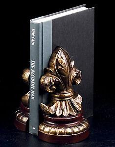 Bookend Fleur de Lis II office desk sculpture bookends Bey Berk gift decor