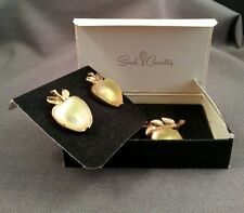 MIB Sarah Coventry Delicious Apple Austrian Iridescent Crystal Pin and Earrings