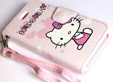 iPhone 5C - HELLO KITTY LEATHER WALLET FLIP POUCH CASE COVER PINK WHITE BOW LOVE