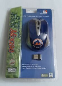 New York Mets MLB Wireless Optical Mouse 2.4G Windows / Mac Baseball